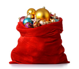 Santa Claus red bag with Christmas toys on white