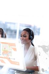 Content call center employee using futuristic interface hologram