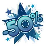 50%, réduction, solde, remise, ristourne, commerce, vente