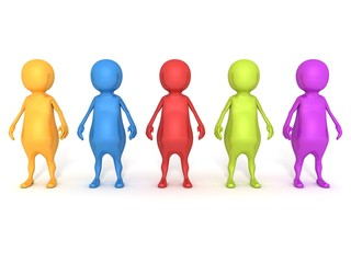 colored 3d people team group on white background