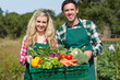 Proud young couple showing vegetables