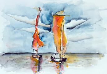 Burning sunset sails