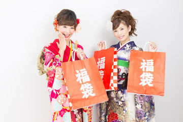 Beautiful asian kimono women on white background
