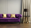 Vintage classic elegant living room with violet tufted sofa