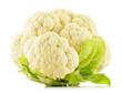 Fresh raw cauliflower isolated on white background