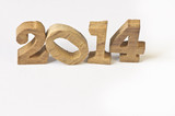 Happy New Year 2014 white background, wood concept
