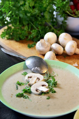 Fresh mushroom champignon soup prepared in blender
