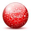 Kugel, Liebe Grüße, Frohes Fest, Weihnachten, Rot, 3D, Textur
