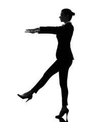 business woman sleepwalking silhouette