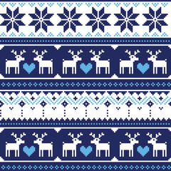 Scandynavian knitted seamless pattern with deer