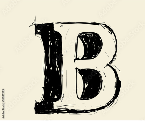 Eroded calligraphic vintage styled ABC. Vector. letter B