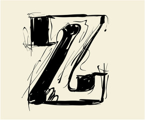 Eroded calligraphic vintage styled ABC. Vector. letter Z
