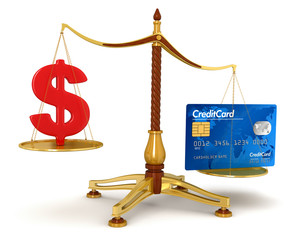 Justice Balance  with Dollar and Credit Card