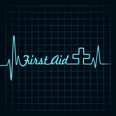 Heartbeat make first aid word and plus symbol stock vector