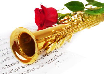 Musical notes and saxophone