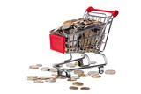 Shopping cart with rubles isolated on white