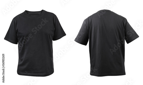 Black t-shirt front and back view.