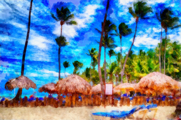 Digital structure of painting. Dominican beach