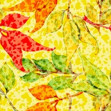 Vector seamless pattern with colored leaves