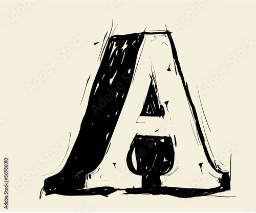 Eroded calligraphic vintage styled ABC. Vector. letter A
