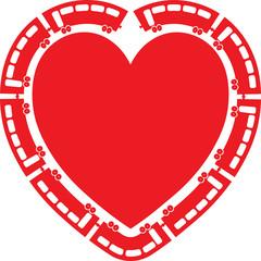 Heart Train vector illustration