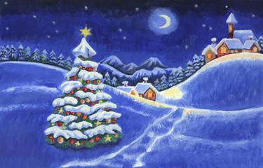 Verschneite Winterlandschaft mit geschmücktem Christbaum - Acryl