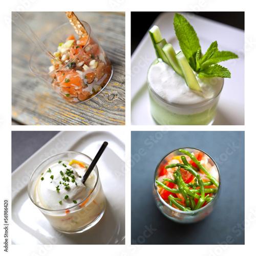 Verrine, pot, entrée, frais, salade, verre, hors-d'œuvre