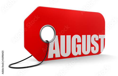 Label with August (clipping path included)