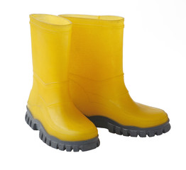 Two yellow gumboots isolated