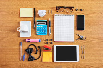 The contents of a business workspace organized and composed.