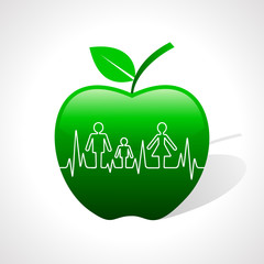Heartbeat make family icon inside the apple