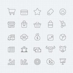 Business and shopping vector thin line symbol icon