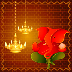 vector illustration of Lord Ganesha with Diwali diya