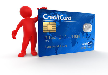 Man with Credit Card (clipping path included)
