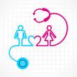 Stethoscope make male,female and heart symbol stock vector