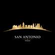 San Antonio Texas city skyline silhouette black background