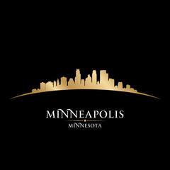 Minneapolis Minnesota city skyline silhouette black background