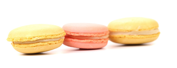 Three various macaron cakes. Close up.