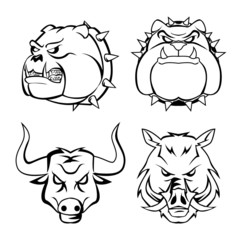 bull dog, wild boar & bull heads
