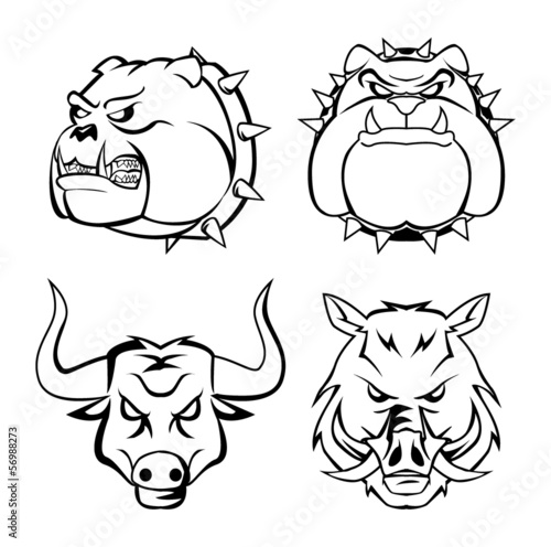 bull dog, wild boar & bull heads
