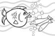 big fish cartoon for coloring book