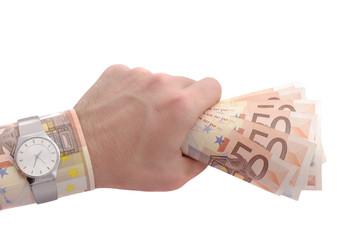 rich hand holding money