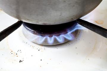 metal pan on burning gas