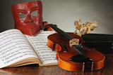 Venetian mask with old violin