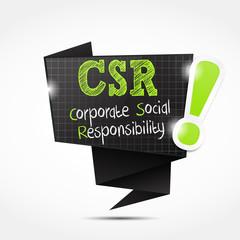 origami speech bubble acronym :  corporate social responsibility