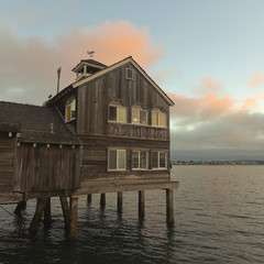 A House on a Pier at Sunset