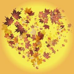 векторный фон сердце из листьев