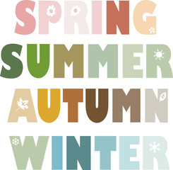 4 seasons - spring, summer, autumn, winter - Vektor