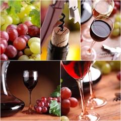 collage di fotografie a tema vino