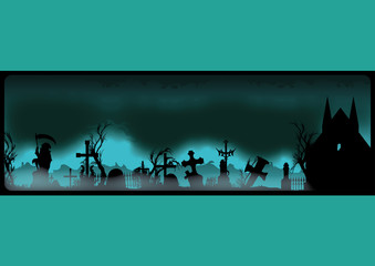 Halloween banner with cemetery
